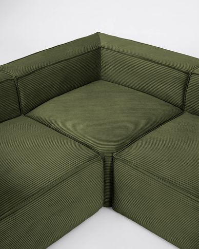 Blok 6-seater corner sofa in green thick corduroy 320 x 320 cm