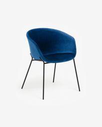 Chaise Yvette velours bleu