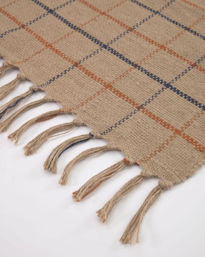 Badia natural rug with garnet and dark blue stripes 70 x 140 cm