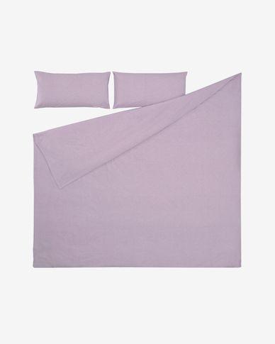Komplet Dileta prześcieradło i poszwa na kołdrę i poduszkę bawełna fioletowy 240 x 220 cm
