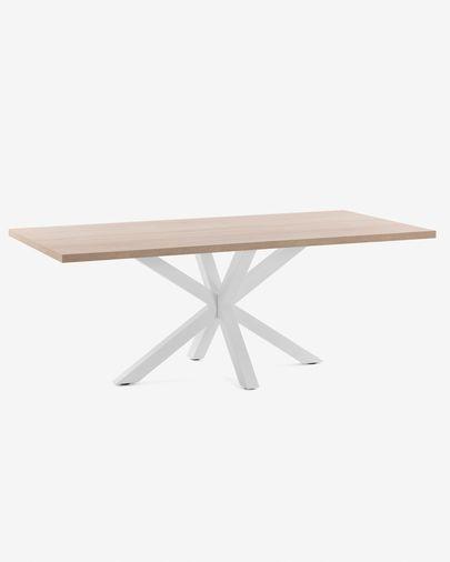 Argo Tisch 200 cm, naturbelassen, Melamin, weisse Tischbeine