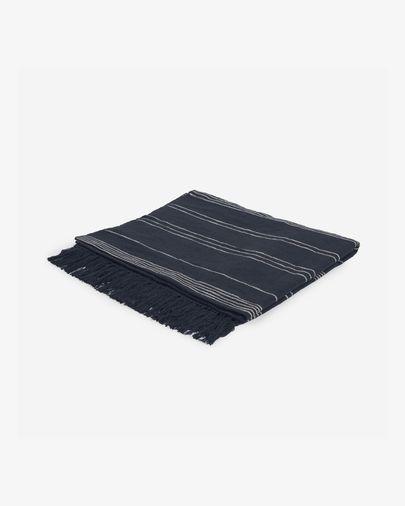 Manta Adalgisa de algodón reciclado rayas blanco y negro 130 x 170 cm