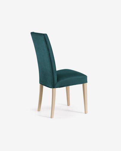 Chaise Freda velours turquoise et naturel