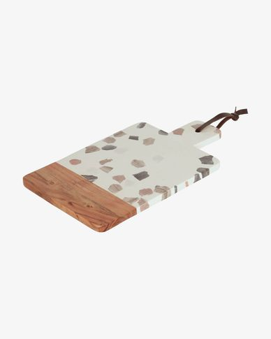 Temira serveerplank van hout en meerkleurig terrazzo
