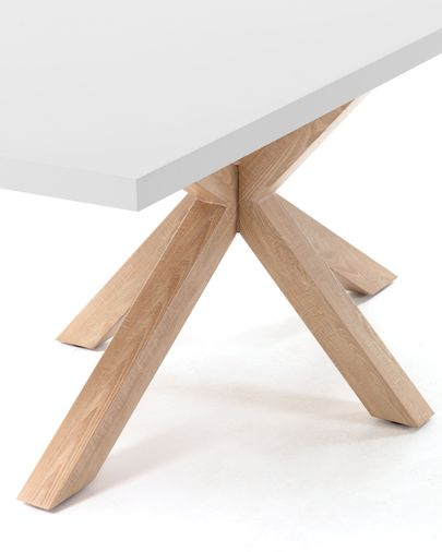 Mesa Argo 180 x 100 cm melamina acabado blanco patas de acero efecto madera