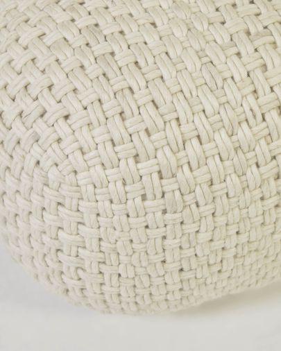 Puf redondo Betty 100% lana blanco Ø 50 cm