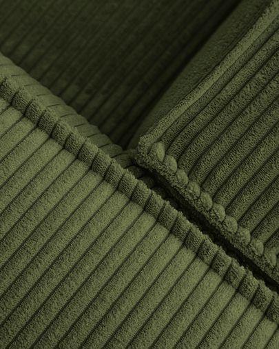 Blok 3-seater corner sofa in green thick corduroy 290 x 230 cm