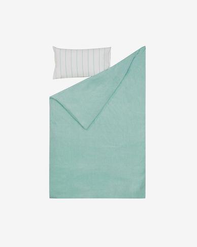 Komplet Gaitana prześcieradło i poszwa na kołdrę i poduszkę bawełna niebieski 110 x 180 cm