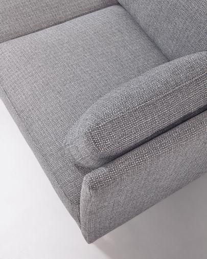 Gilma 3-Sitzer Sofa grau mit Chaiselongue links und Beinen mit dunklem Finish 260 cm