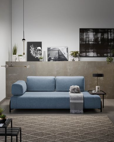 Compo 3-seater sofa in blue with large tray 252 cm
