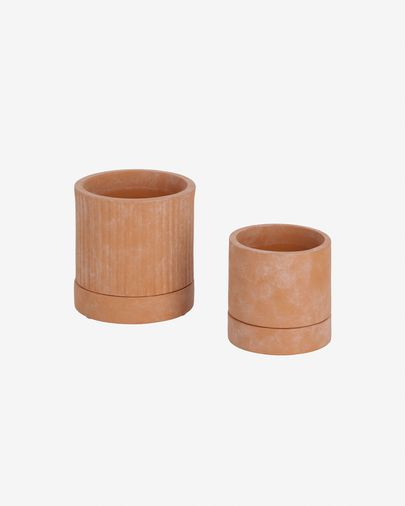 Janaina set of two terracotta planters, Ø 18 cm and Ø 12 cm