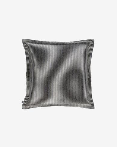 Capa almofada Aleria algodão riscas branco e cinza 45 x 45 cm