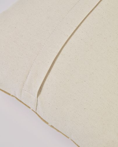 Funda cojín Zale 100% algodón mostaza con triángulos blancos 45 x 45 cm