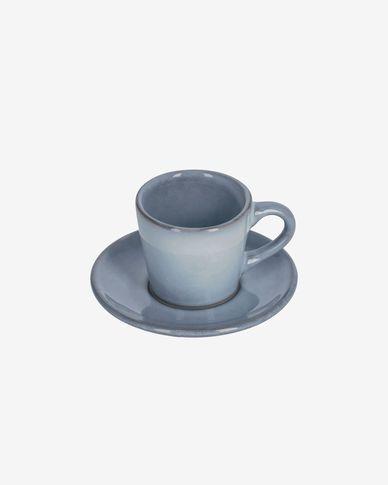 Filiżanka do kawy  z podstawkiem Airena niebieska ceramiczna