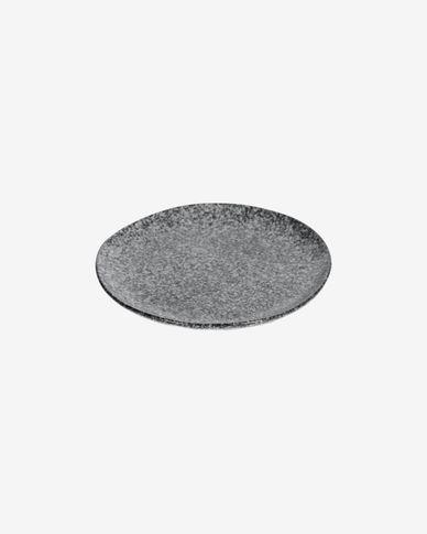 Dessertbord Airena plat van keramiek in zwart en grijs