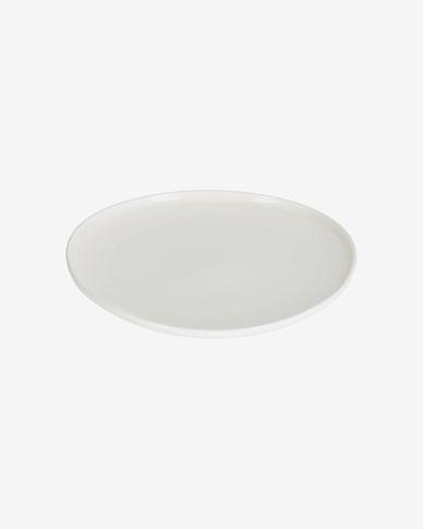 Piatto piano rotondo Pahi in porcellana bianca