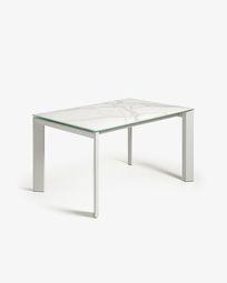 Axis ausziehbarer Tisch 140 (200) cm Feinsteinzeug Kalos Weiß Finish und graue Beine