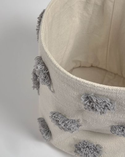 Khrista 100% cotton small grey basket