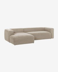 Blok 3-seater sofa with left-hand chaise longue in beige, 300 cm