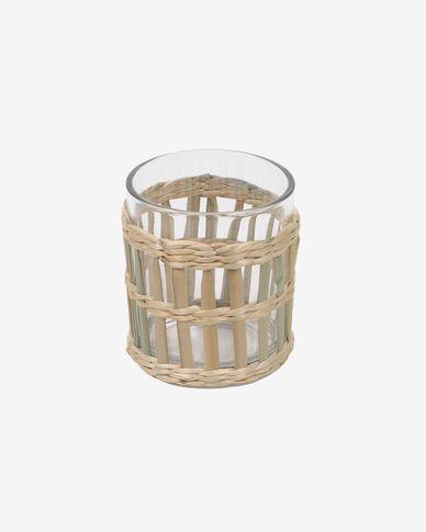 Bicchiere Emelia vetro trasparente e fibra marrone
