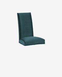 Freda chair cover velvet turquoise