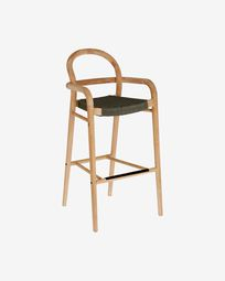 Sheryl stool made from solid eucalyptus and green cord 79 cm FSC 100%