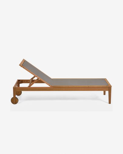 Caterin groene verstelbare ligstoel  van massief eucalyptushout FSC 100%