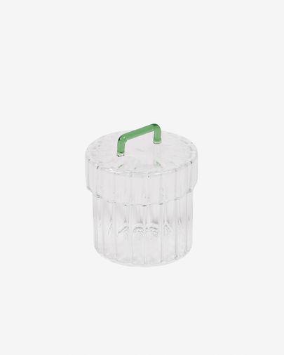 Gretel transparent and green glass jar
