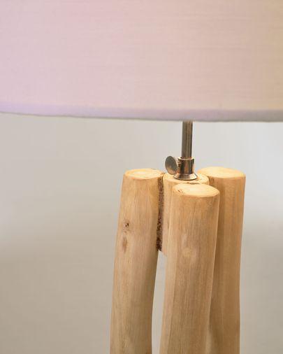 Làmpada de peu Lucelia blanc i fusta massissa teca