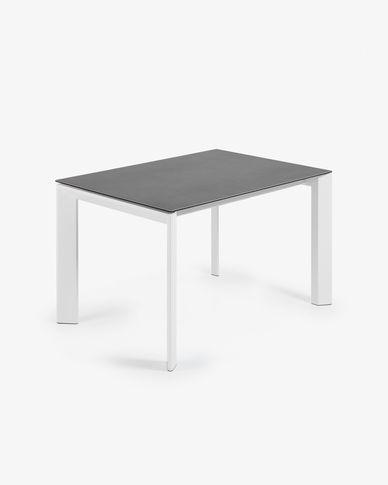 Tavolo allungabile Axis 120 (180) cm porcellanato finitura Vulcano Roca gambe bianco