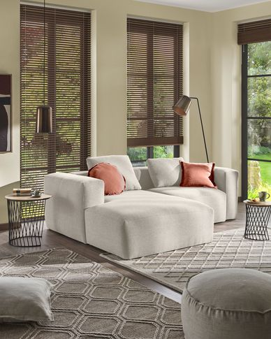 Blok 2-seater sofa with left-hand chaise longue in beige 240 cm