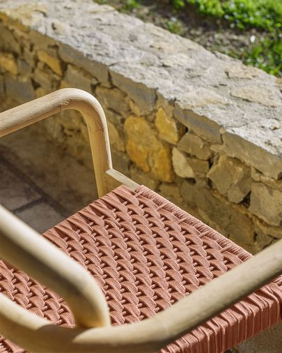 Sheryl stoel gemaakt van massief eucalyptus en terracotta koord