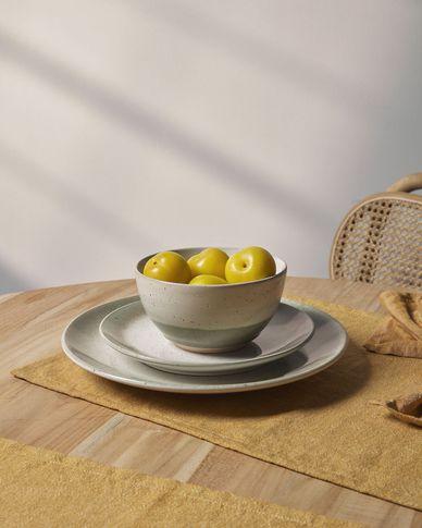 Dessertbord Elida plat van keramiek in beige en groen