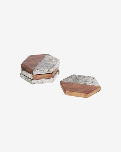 Onderzetters Sinaï set van 4 in hout en steen