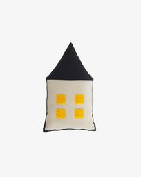 Nisi 100% organic cotton (GOTS) home shaped cushion in black and beige 35 x 20 cm