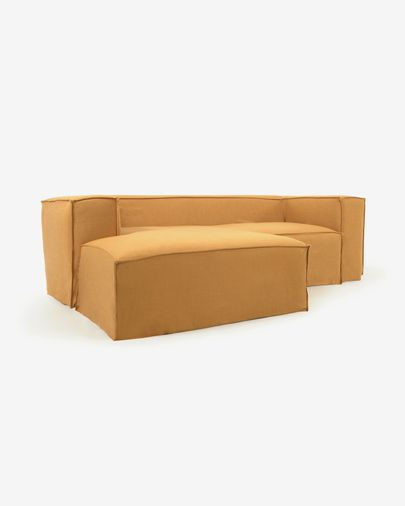 Blok 2-seater sofa with left-hand chaise longue and removable covers in mustard linen 240