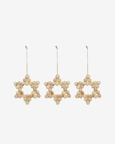 Yaravi set of 3 wooden hanging stars