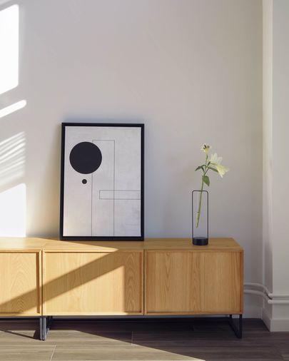 Mueble TV Taiana 2 puertas con chapa de roble y acero acabado negro 112 x 51 cm