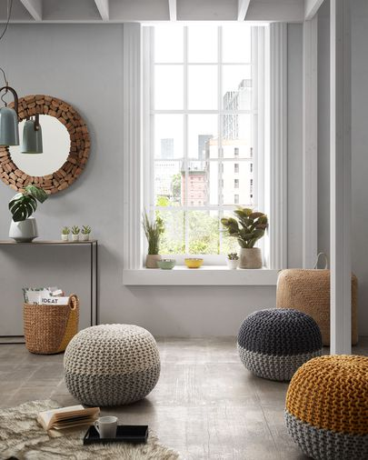 Pouf Arnot Ø 50 cm bianco e grigio