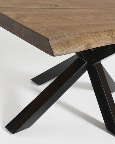 Mesa Argo 220 x 100 cm roble acabado envejecido patas de acero acabado negro