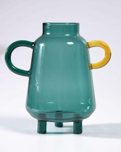 Jarrón Iarena vidrio turquesa y multicolor 14,5 cm