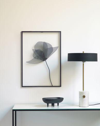 Metalen schilderij Nakita met bloem zwart 40 x 46 cm