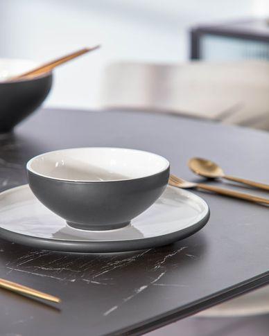 Sadashi porselein kom klein zwart-wit