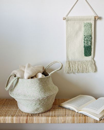 Amorela 100% cotton tapestry with green squares 20 x 30 cm