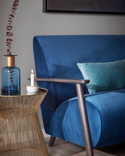 Divano Meghan 2 posti  velluto blu 145 cm