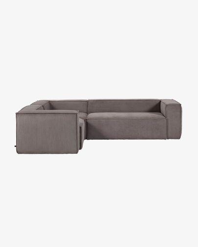 4-zits hoekbank Blok van grijs corduroy 320 x 230 cm