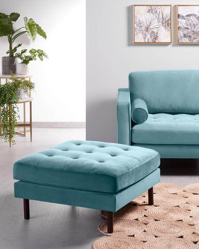 2-zitsbank Debra turquoise velvet 182 cm