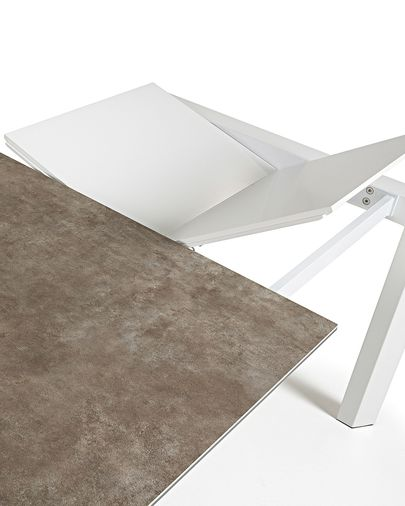 Extendable table Axis 140 (200) cm porcelain Vulcano Ash finish white legs