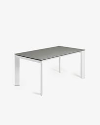 Extendable table Axis 140 (200) cm porcelain Hydra Lead finish white legs