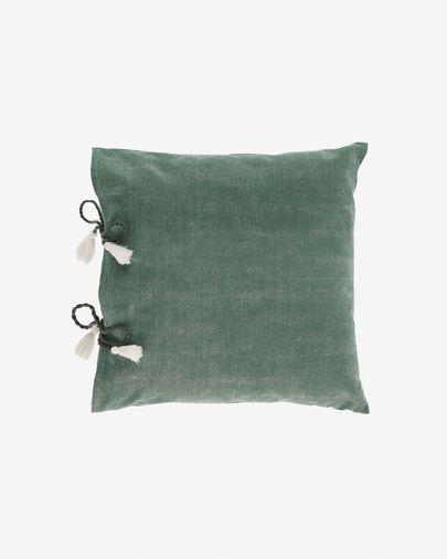 Housse de coussin Varina 100% coton vert 45 x 45 cm